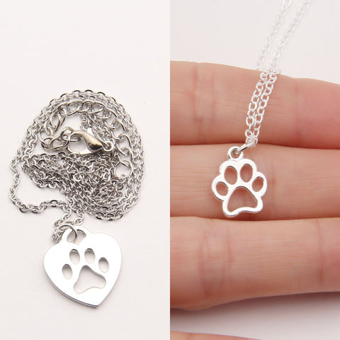 Silver Paw Print Necklace Package