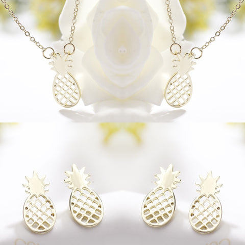 Pineapple Earrings & Necklace Set - Gold