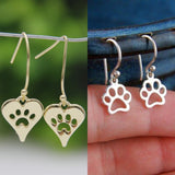 Paw Print Earrings (2 Unique Pairs) - Silver & Gold