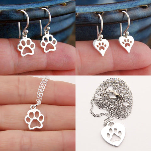 2 Paw Print Earrings & Necklace Sets