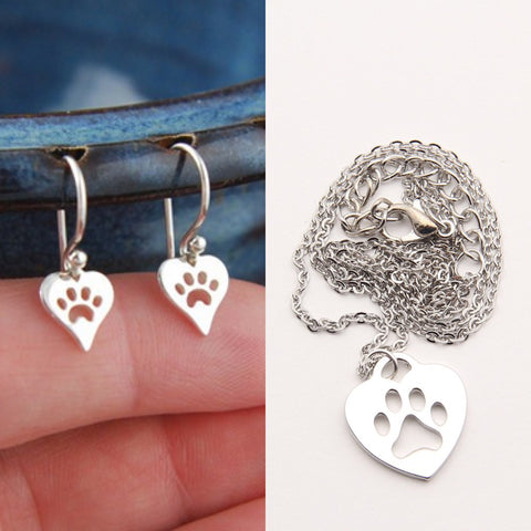 Paw Print Earrings & Necklace Set