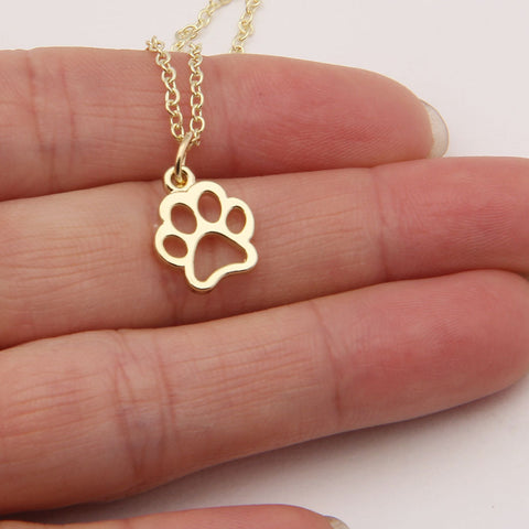 Hollow Paw Print Necklace - Grateful Bacon