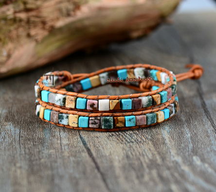 Natural Stones & Leather Wrap Bracelet