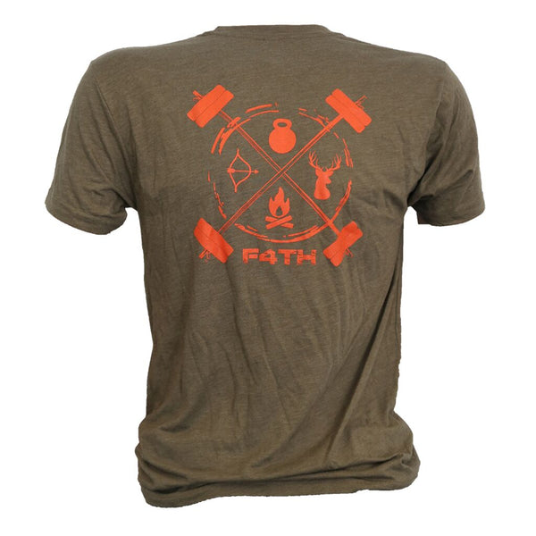 Men's Tee - Orange on Green