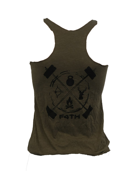 Women's Tank - Black on Olive Green