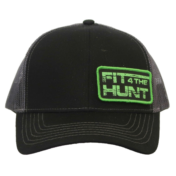 Hat-Trucker Style-Black Brim-Neon Green Patch Logo