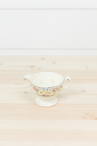White Pine- Cream Pitcher with Pink and Yellow Flowers + Blue Detail