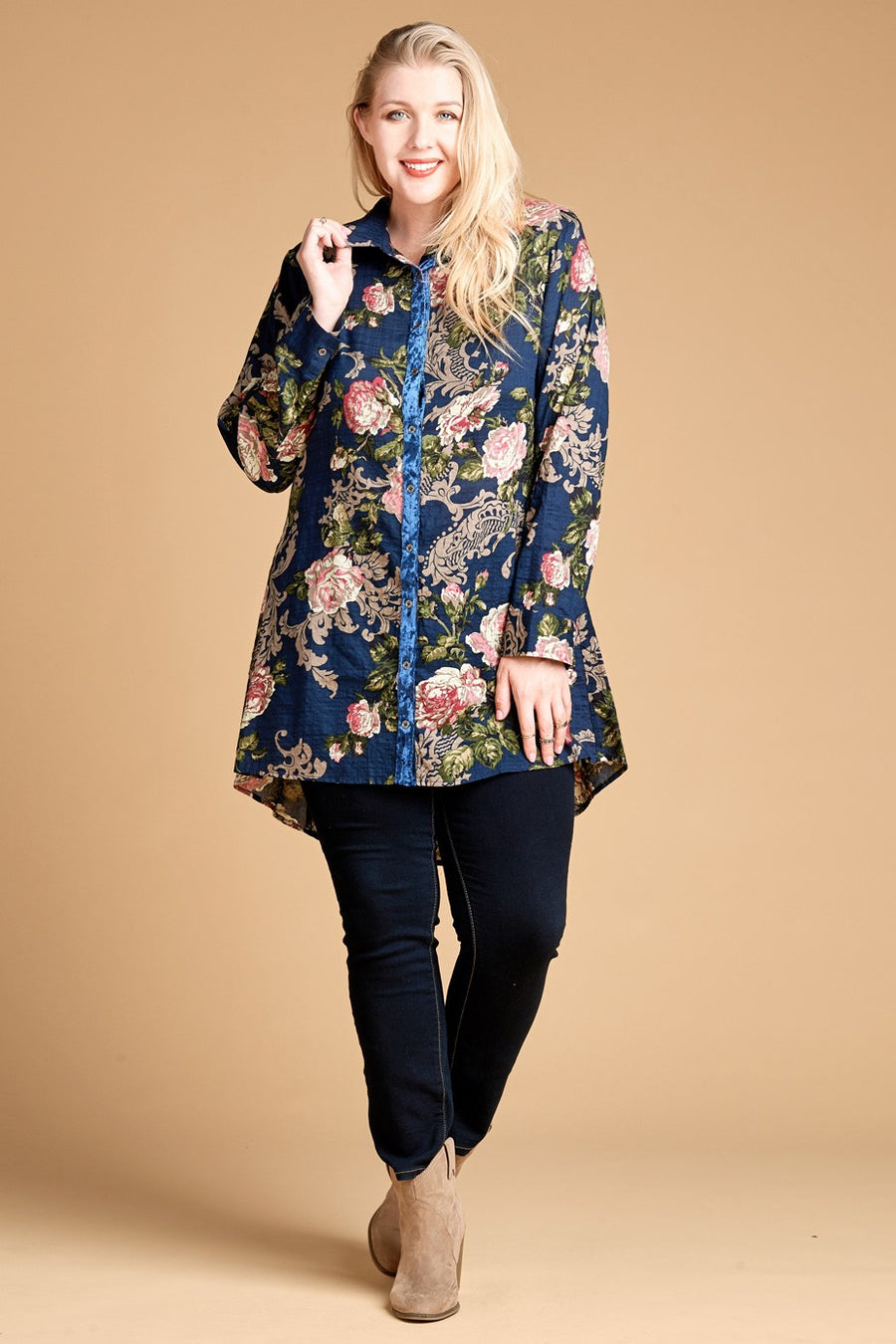 Floral Print-Block Button Down Shirt 00641