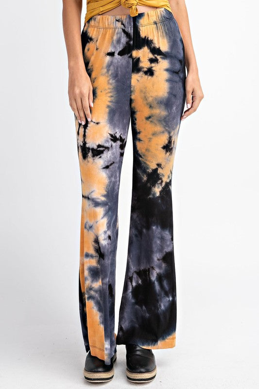 Tie Dye Bell Bottom Knit Pants 02083