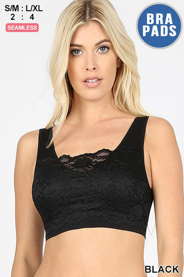 SEAMLESS BRA TOP WITH FRONT LACE COVER 00578