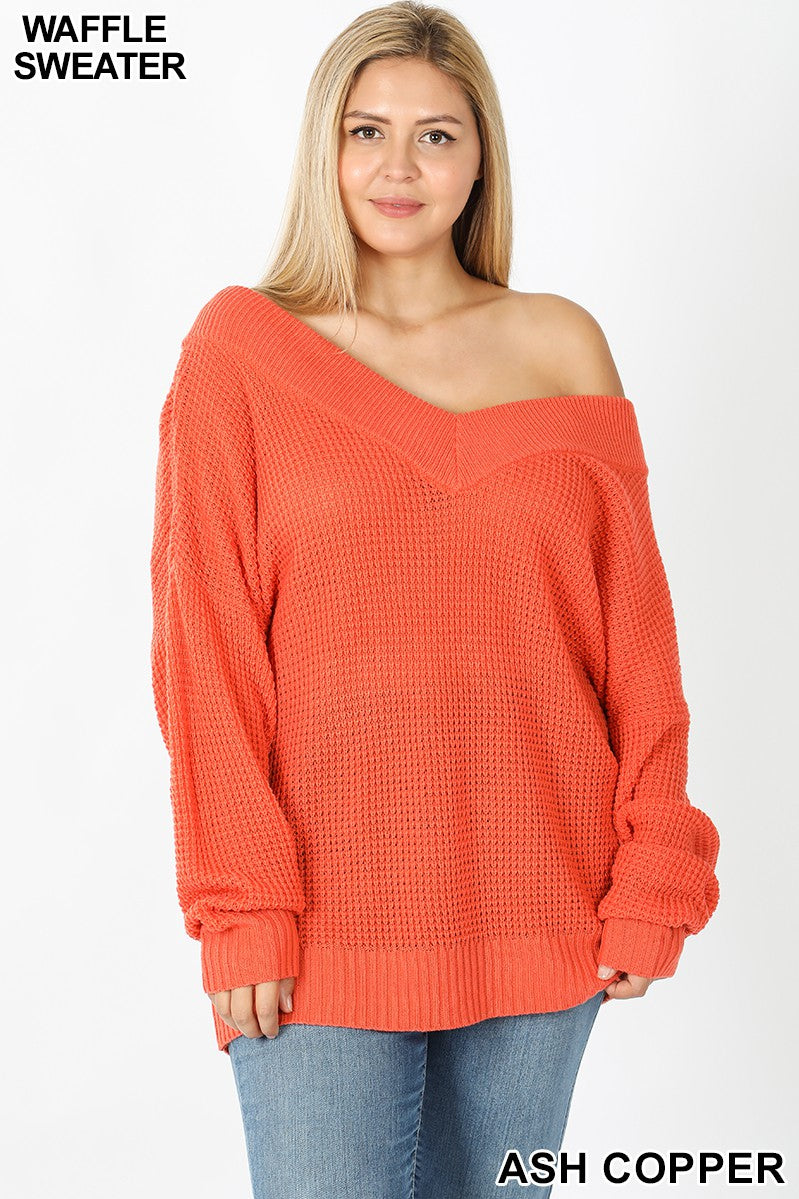 WIDE DOUBLE V-NECK WAFFLE SWEATER 02111