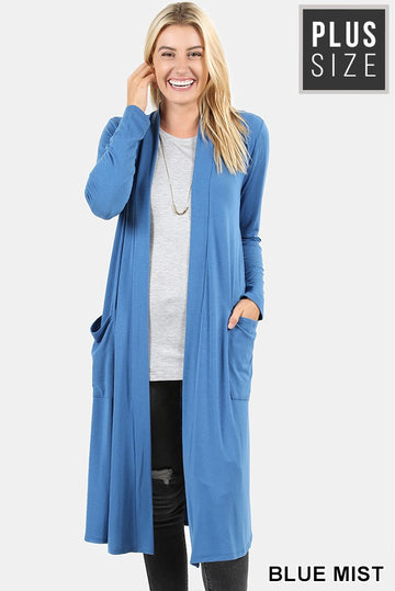 KNEE LENGTH SLOUCHY POCKET OPEN CARDIGAN 01770