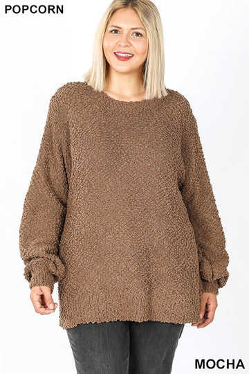 Popcorn Ballon Sleeve Sweater 02794