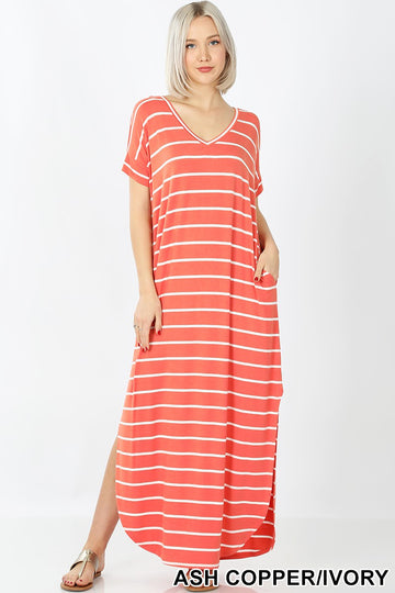 STRIPE MAXI DRESS WITH POCKET 01407