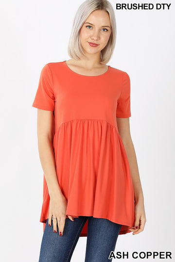 SHORT SLEEVE WITH WAIST SHIRRING TOP 02118