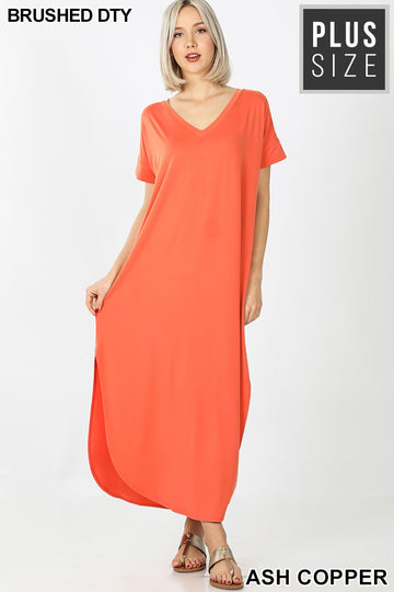 PLUS  V-NECK MAXI DRESS 01761
