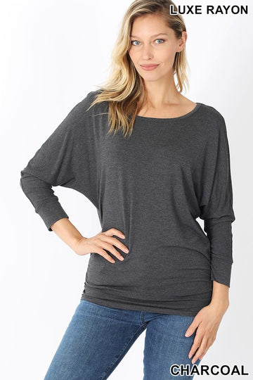 BOAT NECK 3/4 SLEEVE TOP SHIRRED 02109