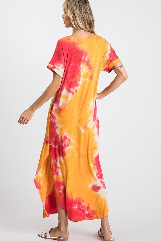 TIE DYE SHORT SLEEVE SIDE SLIT MAXI DRESS 01806