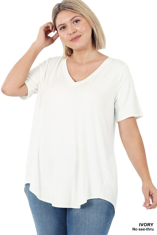 Plus Short Sleeve V-Neck Hi-Low Hem 03452