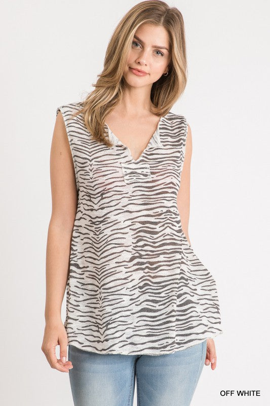 Zebra Print Knit Sleeveless Top 02072