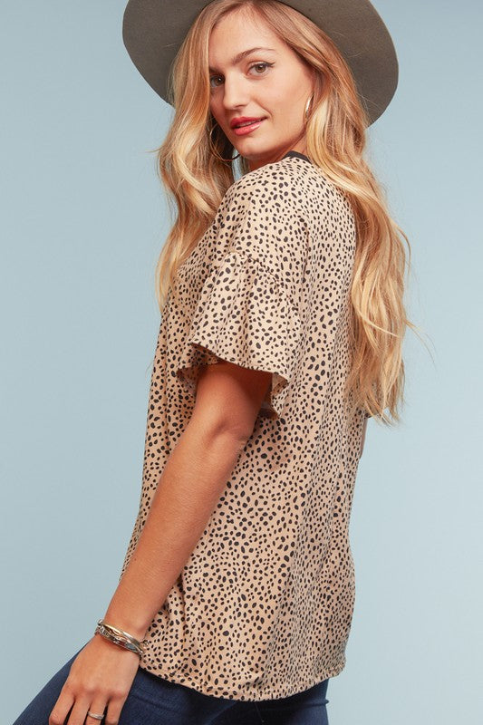 Animal Print V-Neck Top 01977