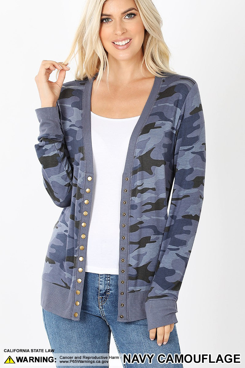 CAMOUFLAGE PRINT SNAP BUTTON CARDIGAN 02171