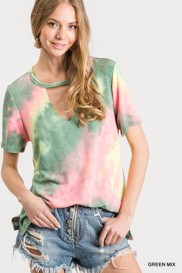 TIE DYE MOCK NECK TOP 02264