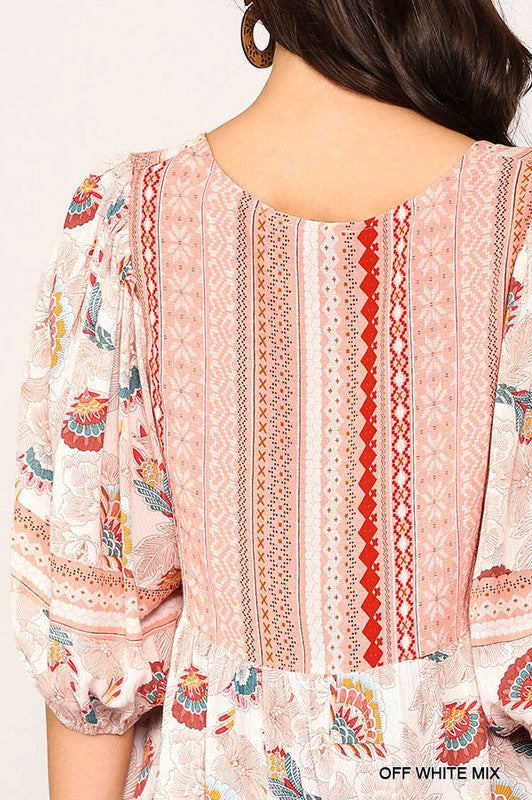 Mix-Printed V-Neck Tunic Top 01779