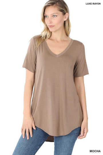 LUXE RAYON SHORT SLEEVE V-NECK HI-LOW HEM TOP (01348)