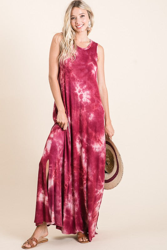 Tie Dye Sleeveless Maxi Dress 01783