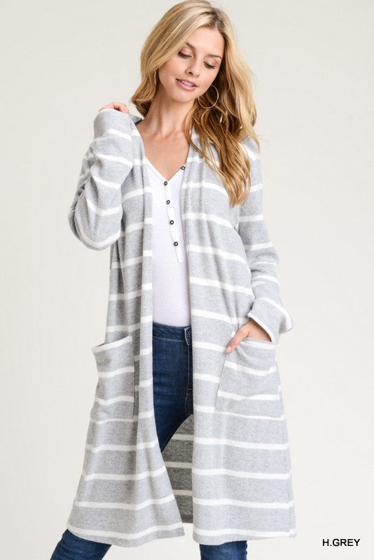 Striped Hooded Cardigan 02155