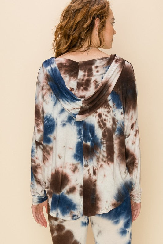 TIE DYE HIGH-LOW CROP HOOD TOP 02162