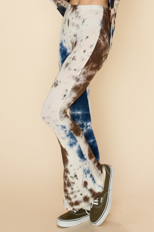TIE DYE FLARE BOTTOM FITTED PANTS 02163