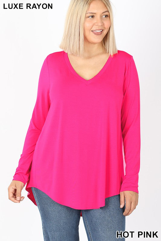 LONG SLEEVE V-NECK DOLPHIN HEM TOP 02108