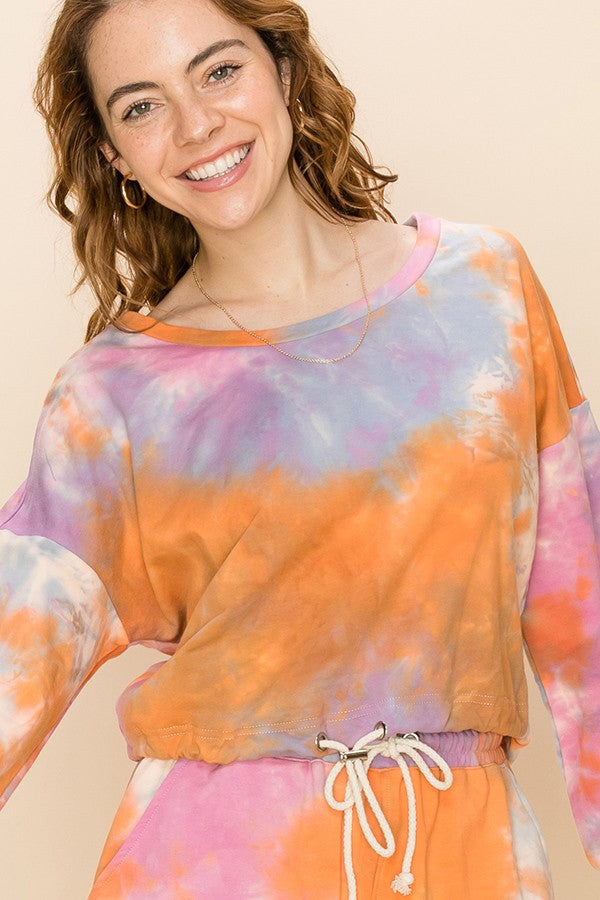 TIE-DYE DROP SHOULDER LONG SLEEVE TOP 02164
