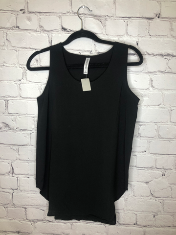 Woven Crepe Sleeveless Round Neck and Hem Top Plus- 01425