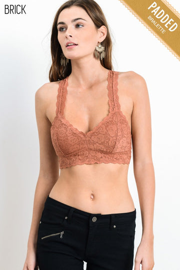 SCALLOPED RACERBACK PADDED LACE BRA 00210