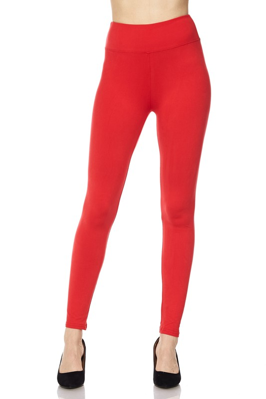 Solid Brushed Ankle Leggings with 3 inch waistband 00784