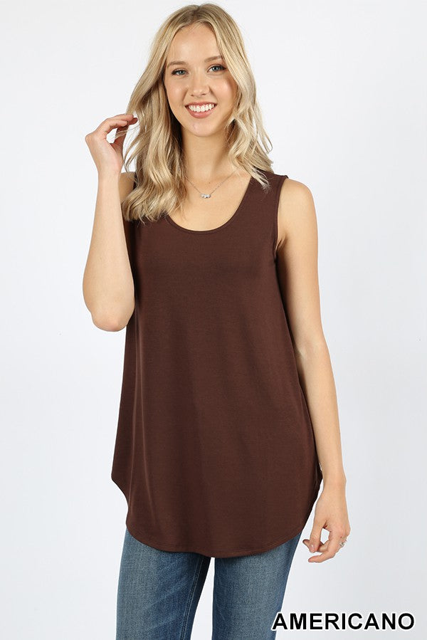 SLEEVELESS ROUND NECK ROUND HEM TOP 01173