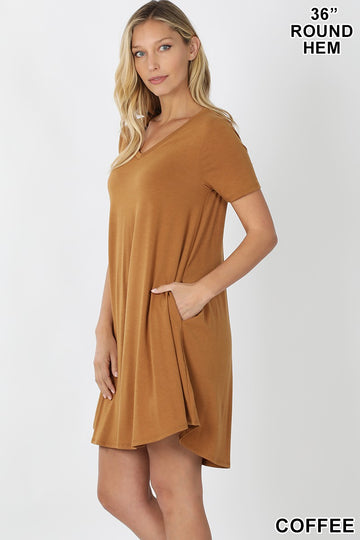 V-NECK POCKET ROUND HEM A-LINE DRESS 02117
