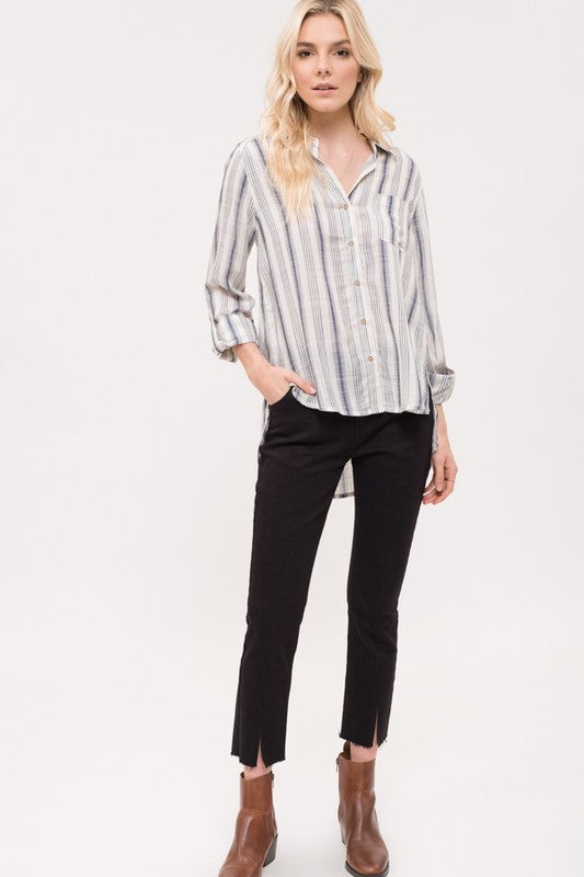 Button Up Striped Front Tie Top 01130