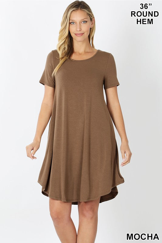 SHORT SLEEVE ROUND HEM A-LINE DRESS - SIDE POCKETS 01352