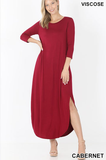 3/4 Sleeve Maxi Dress 02107