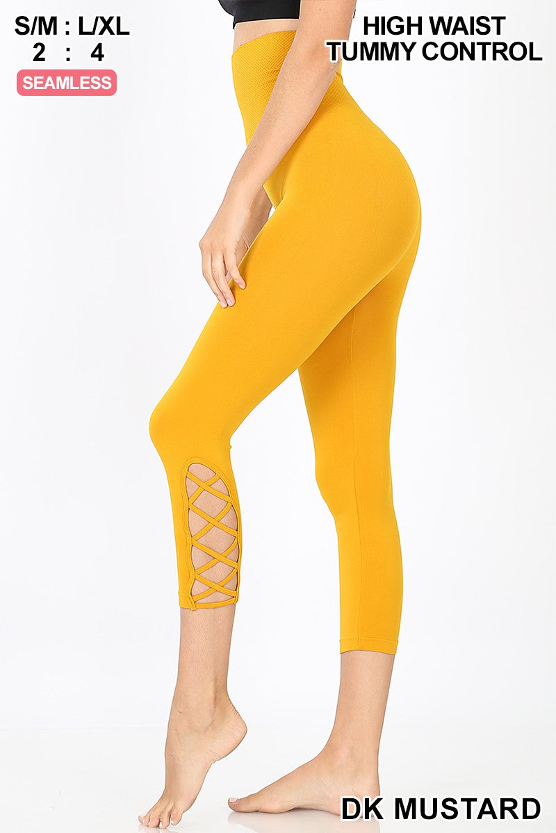 LATTICE-HEM HIGH WAIST TUMMY-CONTROL CAPRI 01835