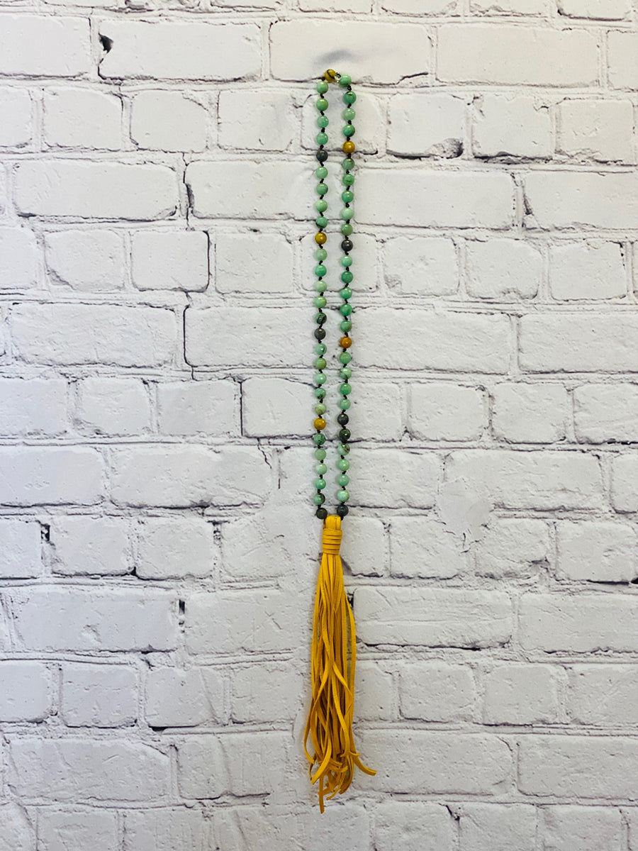 Polished Amazonite with Mustard tassel 01522