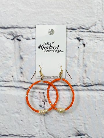 Orange Bead Hoop Earrings 01584