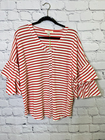 Striped V-Neck Button Up Top