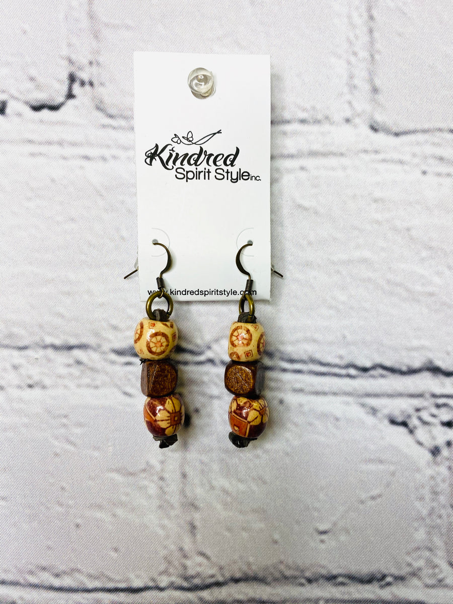 Wood Bead Earrings 01736