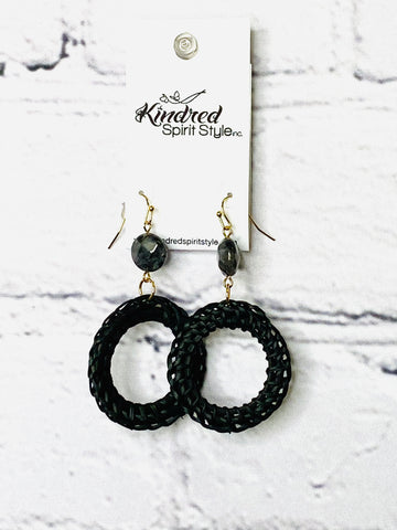 Black Rattan Earrings 01745