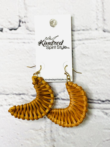 Crescent Rattan Earrings 01746